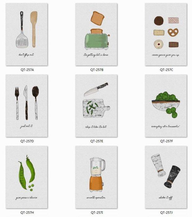 三幅一組油畫布 小清新廚房字母餐餐廳  畫芯/畫布/30X40☺暖暖屋☺傢居藝術館