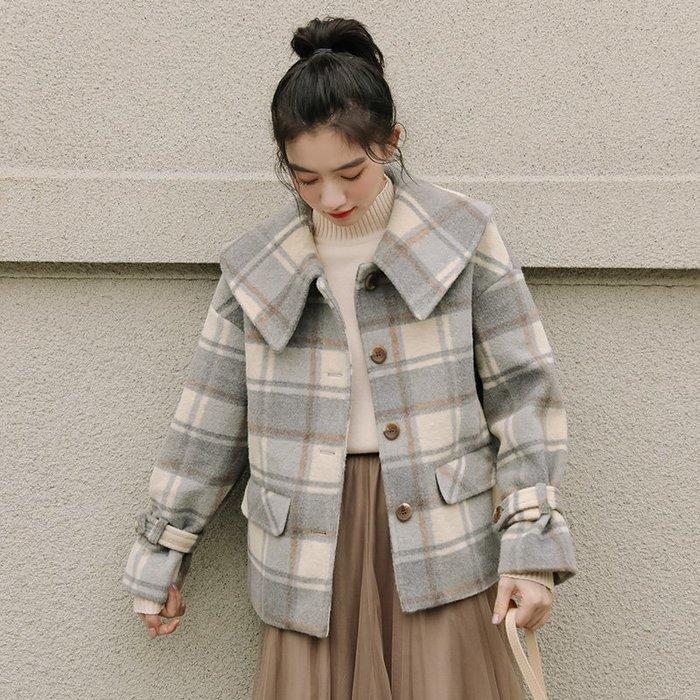 SEYES 雜誌款!基本復古森林系娃娃翻領格紋毛呢短大衣外套