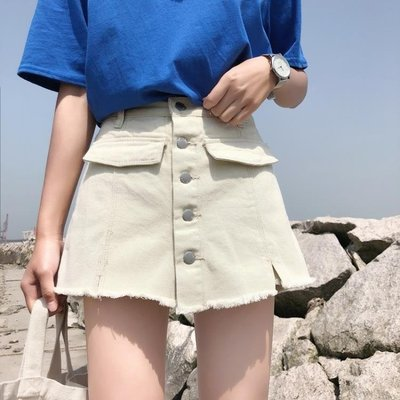 褲子女裝新款夏裝假兩件寬鬆高腰顯瘦A字...