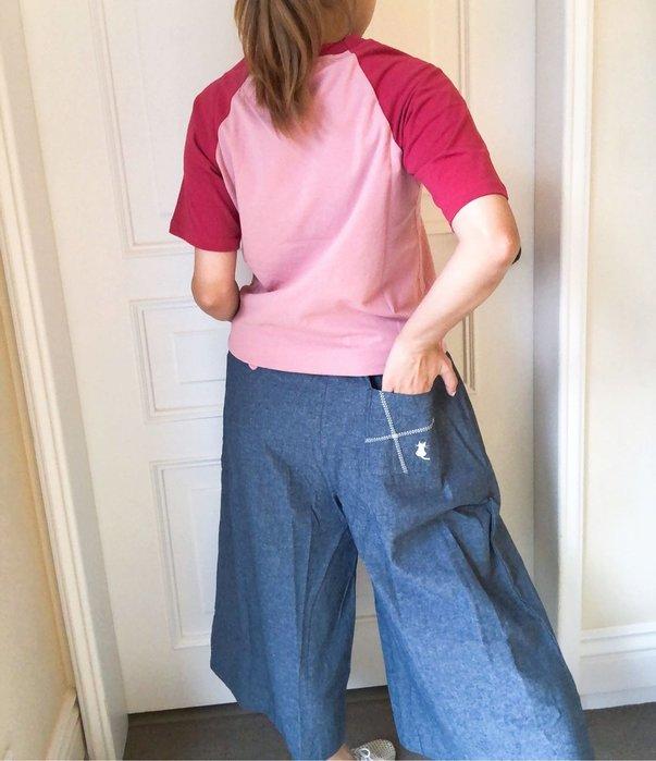 日本卡拉貓~繡貓口袋薄款八分寬褲