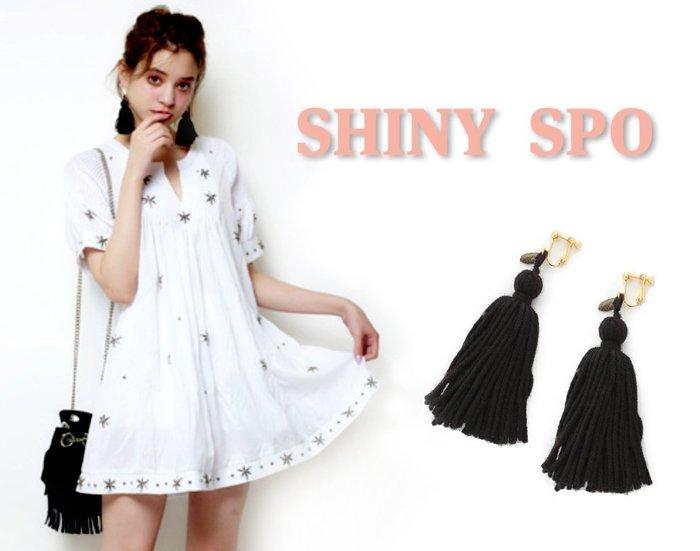 SHINY SPO 獨家代理日本品牌 lilLilly 嬉皮波西米亞風流蘇耳環 粉紅黑色白色