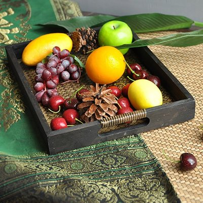 泰國木質編織托盤泰式藤編美容院托盤酒店長方形水杯茶杯托盤茶盤