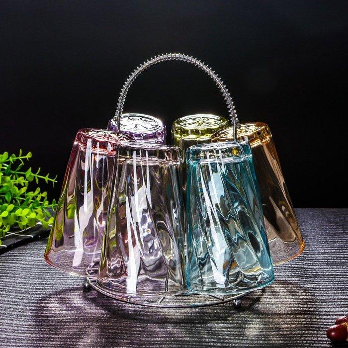 水杯果汁牛奶杯含杯架  耐熱家用創意玻璃杯開水杯套裝 泡茶啤酒水杯組(5組)_☆優購好SoGood☆