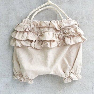 【韓國空運正韓童裝】正韓--花邊棉麻褲--卡其色