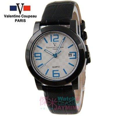 【JAYMIMI傑米】Valentino范倫鐵諾古柏皮帶手腕錶-格紋法式浪漫主義彩色刻度藍水晶玻璃 藍白 特價 1450