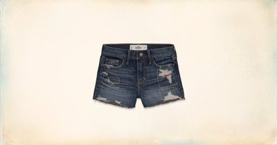 Hollister 女 海鷗 刷破 縫補 牛仔短褲 尺寸24 / 25 全新 現貨