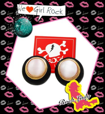 ☆Rock Lady☆時髦女孩憧憬單品♥魅力UP!UP!♥普普風圓形寶石大耳環