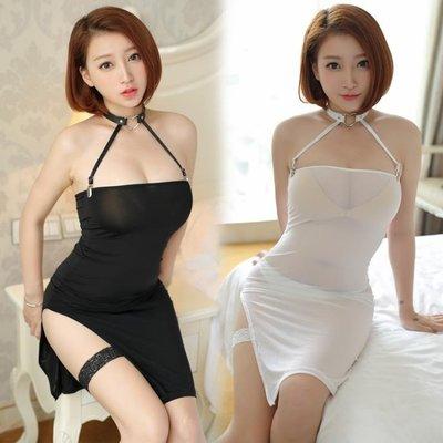 冰絲超薄透明緊身裙開叉短裙ktv夜店酒吧透視裙情趣內衣