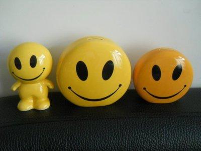 葳葳的店黃色微笑存錢筒*撲滿*陶瓷撲滿*陶瓷存錢筒(中間大的)