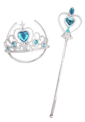 BA38【派對樂】萬聖節 生日派對舞會冰雪 公主皇冠_ 艾莎冰雪藍仙女棒二件組