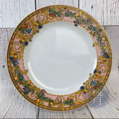 BRAND楓月 VERSACE 凡賽斯 粉色 庭園 花朵 瓷盤 圓盤 中盤