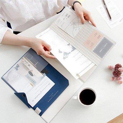 韓國文具 高檔商務簡約氣質a4仿皮文件夾.多功能辦公資料夾檔案冊SMB22348