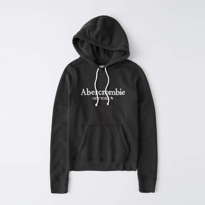 【Abercrombie&Fitch】【A&F】AF女款連帽T恤繡白字小鹿黑 F02201006-07