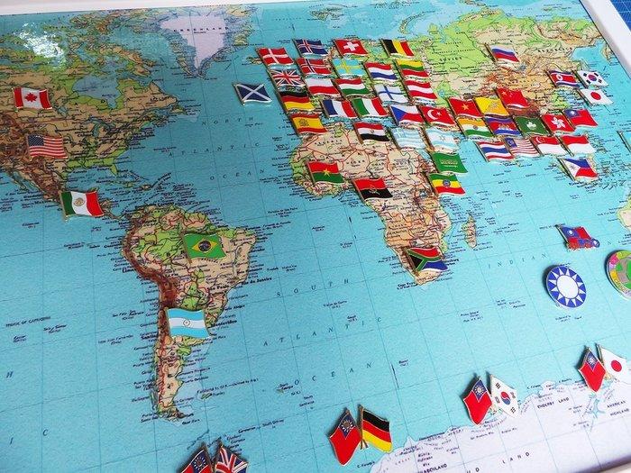 【國旗徽章達人】世界地圖國旗胸章組合/徽章/胸針/別針/勳章/獎章