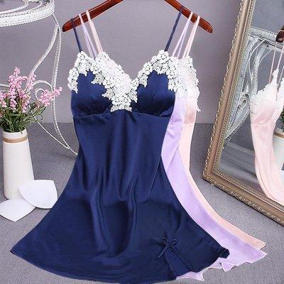 夏季冰絲吊帶睡裙洋裝仿綢睡衣女夏天蕾絲薄款家居服冰絲睡裙
