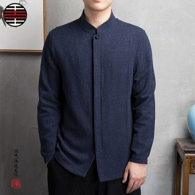中國風男裝亞麻男士提花長袖男襯衫禪服茶服禪衣定制復古風