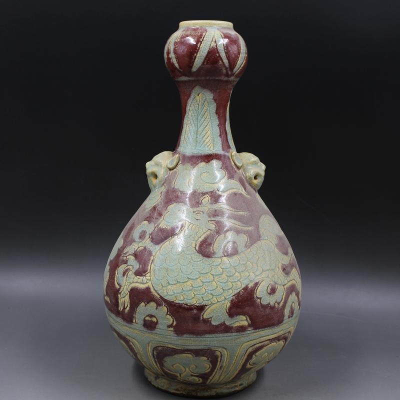 ㊣姥姥的私藏㊣ 元釉里紅雕刻麒麟紋蒜頭瓶