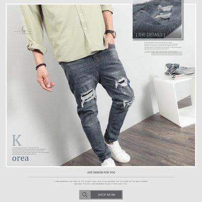 下殺749。SW。【K91721】正韓BLE 彈性單寧布 褲頭有彈性 微上寬下窄 灰藍抽鬚內補丁破壞 彈性牛仔褲 GD