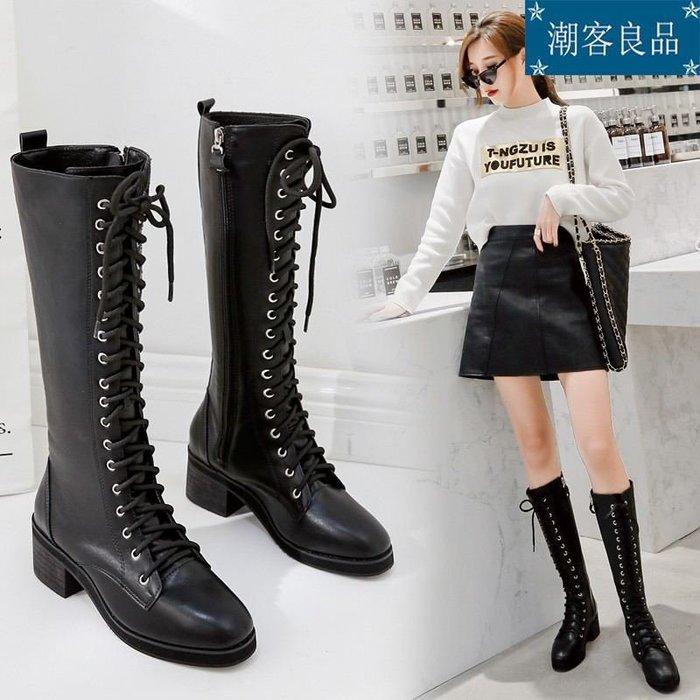 女鞋/高跟鞋/跟鞋/系帶長靴女過膝冬新款騎士機車靴子拉鏈長筒靴粗跟高筒靴現貨夜店性感