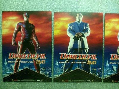 2003漫威漫畫電影 夜魔俠Daredevil 電影明信片一組4張 10.5X15cm 班艾佛列克 珍妮佛嘉納 柯林法洛