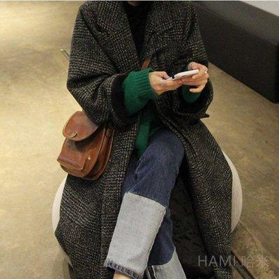 韓版 格子長大衣毛呢外套長版過膝寬鬆千鳥格大衣加厚款