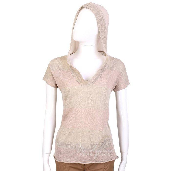 米蘭廣場 FABIANA FILIPPI 卡其x粉色拼接設計連帽短袖上衣 1420101-28