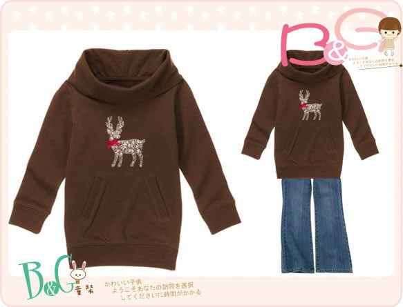 【B& G童裝】正品美國進口GYMBOREE刺繡麋鹿圖樣咖啡色翻領厚棉長袖上衣6,8yrs