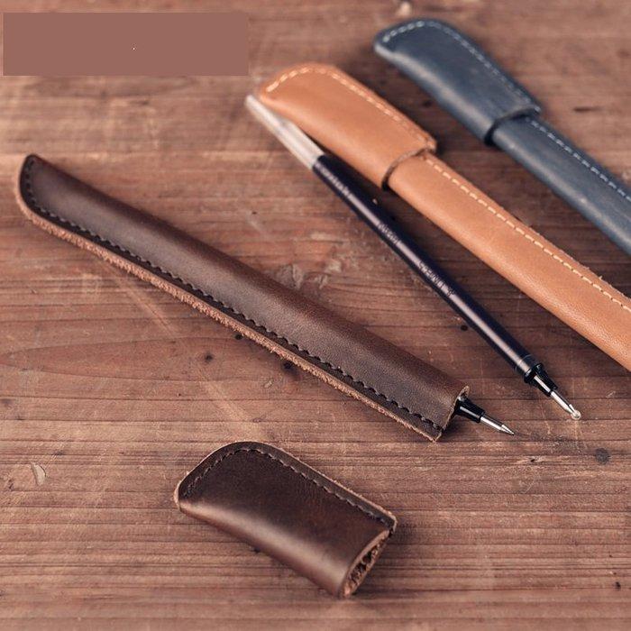 手工皮具牛皮筆個性創意中性筆簽字復古水筆原創小皮件禮物_☆找好物FINDGOODS☆