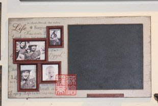 INPHIC-法式鄉村風格 歐式 仿舊木質紅灰四聯相框小黑板 相框壁飾