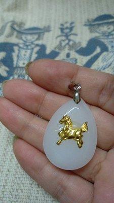 天然崑崙羊脂白玉12生肖之馬墬子墬頭