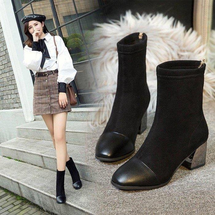 麥麥部落 鞋子女高跟短靴女粗跟襪子彈力靴女百搭方頭裸靴子馬丁靴MB9D8