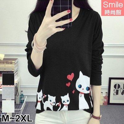 【V2582】SMILE-可愛俏甜‧貓咪愛心印花圓領長袖上衣