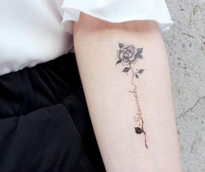 【萌古屋】黑色英文玫瑰staunch(堅定) - 男女防水紋身貼紙刺青貼紙RC-144