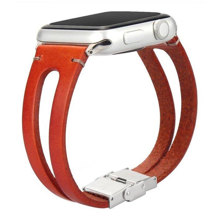 蘋果 apple watch4  手錶帶 復古真皮 純手工 iwatch1/2/3/4代 頭層牛皮 替換腕帶 智能手錶帶