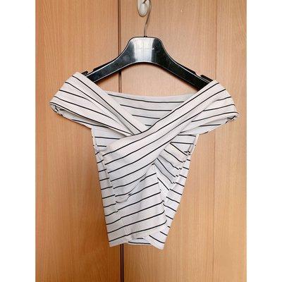 Zara elegant striped off shoulder white blouse top cos超靚款性感白色線條間條一字領 露肩 露膊 襯衫 背心
