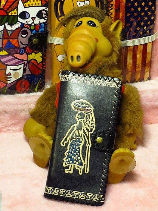 【 金王記拍寶網 】045  復古人物紋手工長夾 皮夾 女用 男用 中性 手工 皮夾 市面罕見稀少