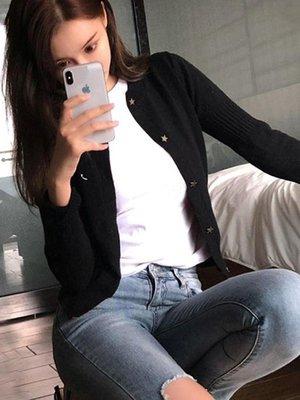 針織衫秋裝黑色針織開衫外套女短款韓版寬鬆圓領毛衣外搭春季冬