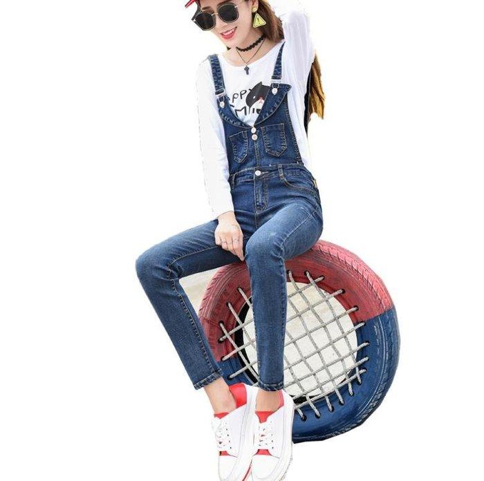 吊帶褲 新款可拆卸牛仔背帶褲 學生顯瘦連身褲 韓版學院風百搭小腳長褲 牛仔褲—莎芭