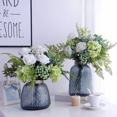 假花輕奢北歐仿真花藝套裝客廳假花擺件家居餐桌裝飾品玫瑰干花束插花不凋花