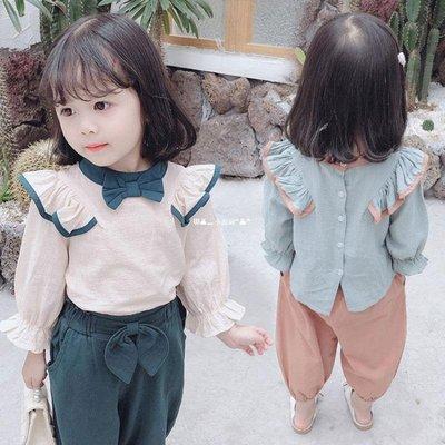 `惗.Study溡光 女童秋裝套裝2020潮新款女寶寶3洋氣夏季4時髦網紅蝴蝶結兩件套5潮6