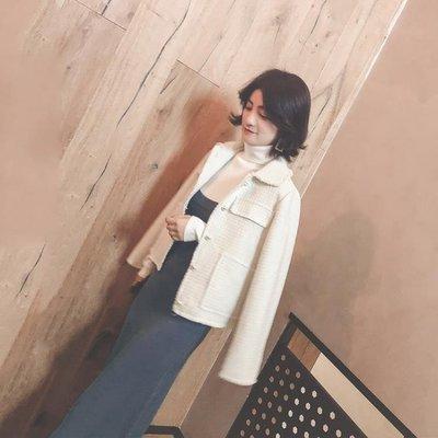秋冬新款韓版白色毛呢短外套秋裝短款小香風