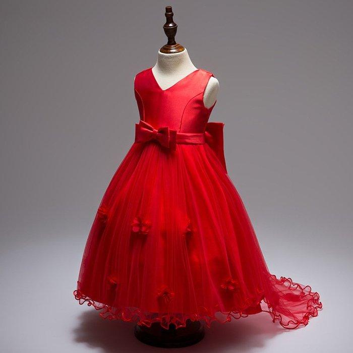 現貨 女童喜氣大蝴蝶結拖尾婚紗禮服
