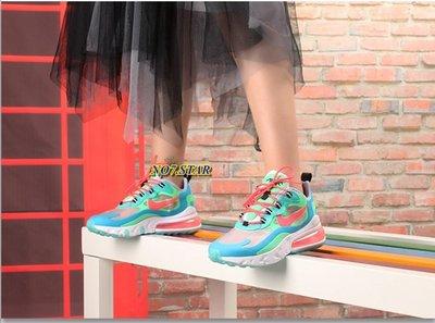Nike Air Max 270 React  湖水藍 綠 西瓜 粉勾 氣墊 透氣 半透明 女鞋 AT6174-300