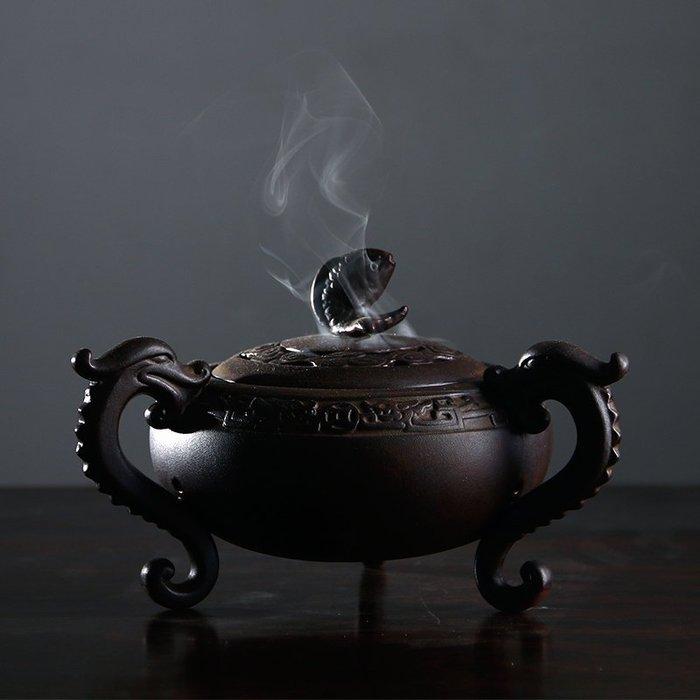 仿古銅色大號陶瓷熏香爐居室檀香爐盤香盒創意三足魚龍香薰爐擺件