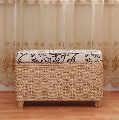 【優上】宜家草編多功能收納凳儲物凳子換鞋凳中式沙發凳「原色矮長方款」