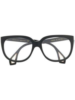 GUCCI Logo 男生配件 黑色矩形加強鏡框黑色側臂眼鏡  萊克精品代購 190828011
