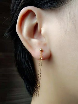 梵玉善緣 新品推薦 AU750 18K黃金 玫瑰金 滿天星流蘇耳線 耳墜  1只價格