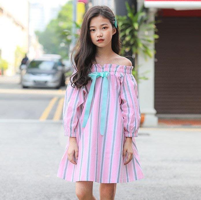 【小阿霏】兒童洋裝 純棉一字肩A字裙條紋連衣裙 女孩氣質連身裙子 女童中大童尺寸CL08