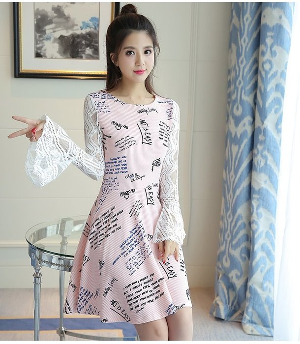 日韓服飾*印花蕾絲喇叭袖洋裝(粉紅色)*韓國連線**現貨*時尚典雅款*原價490-特價348**3s潮流屋~2件免運