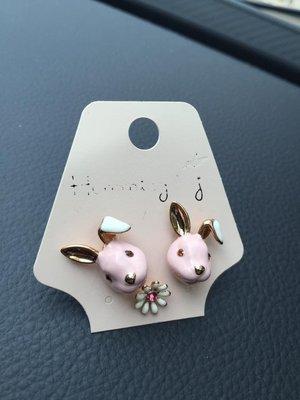 100%Boutique韓國時尚可愛動物系列兔子抗敏耳環